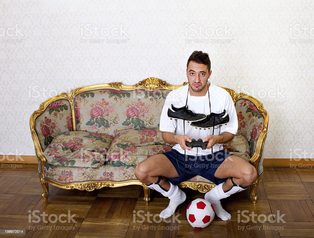 nerd or football player royalty-free stock photo