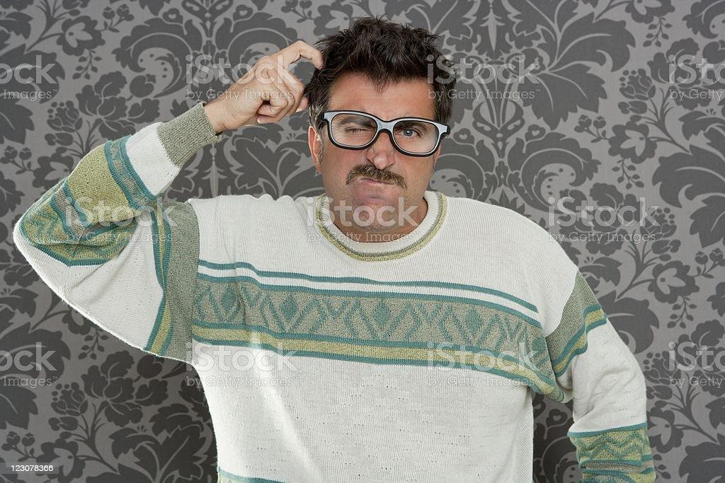 nerd pensive silly man retro wallpaper glasses tacky royalty-free stock photo