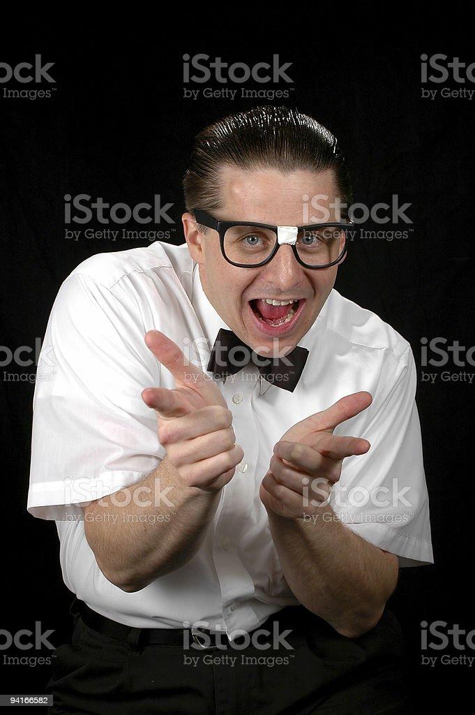 Nerd pointing royalty-free stock photo