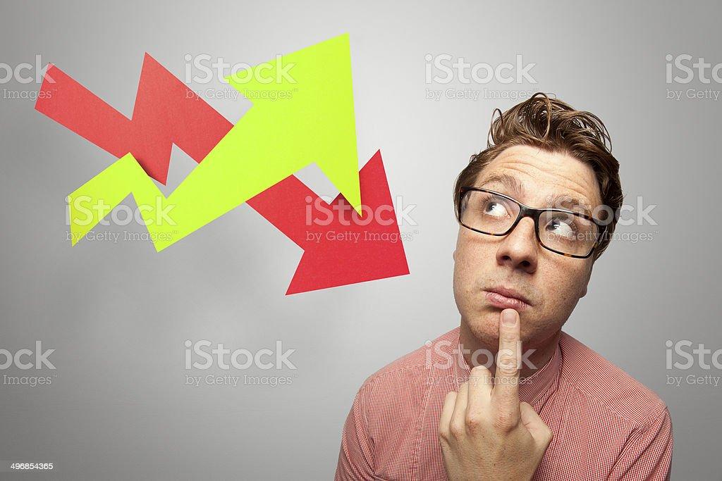Nerd pondering Arrows on Grey – Paper Graphics series stock photo