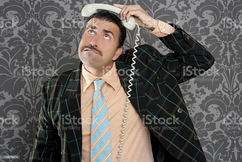 Nerd scared expression businessman telephone call royalty-free stock photo