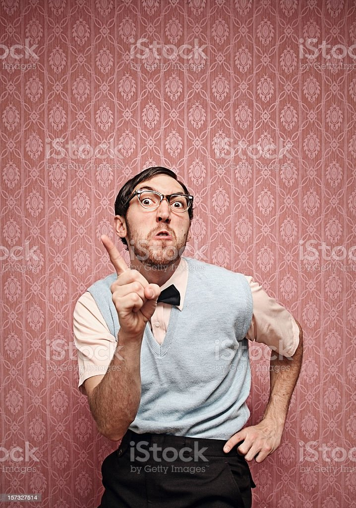 Nerd Scolds Someone With An Irritated Face stock photo