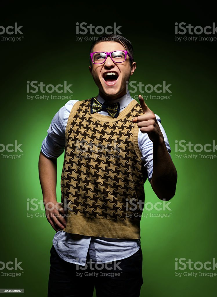 nerd screaming and pointing royalty-free stock photo