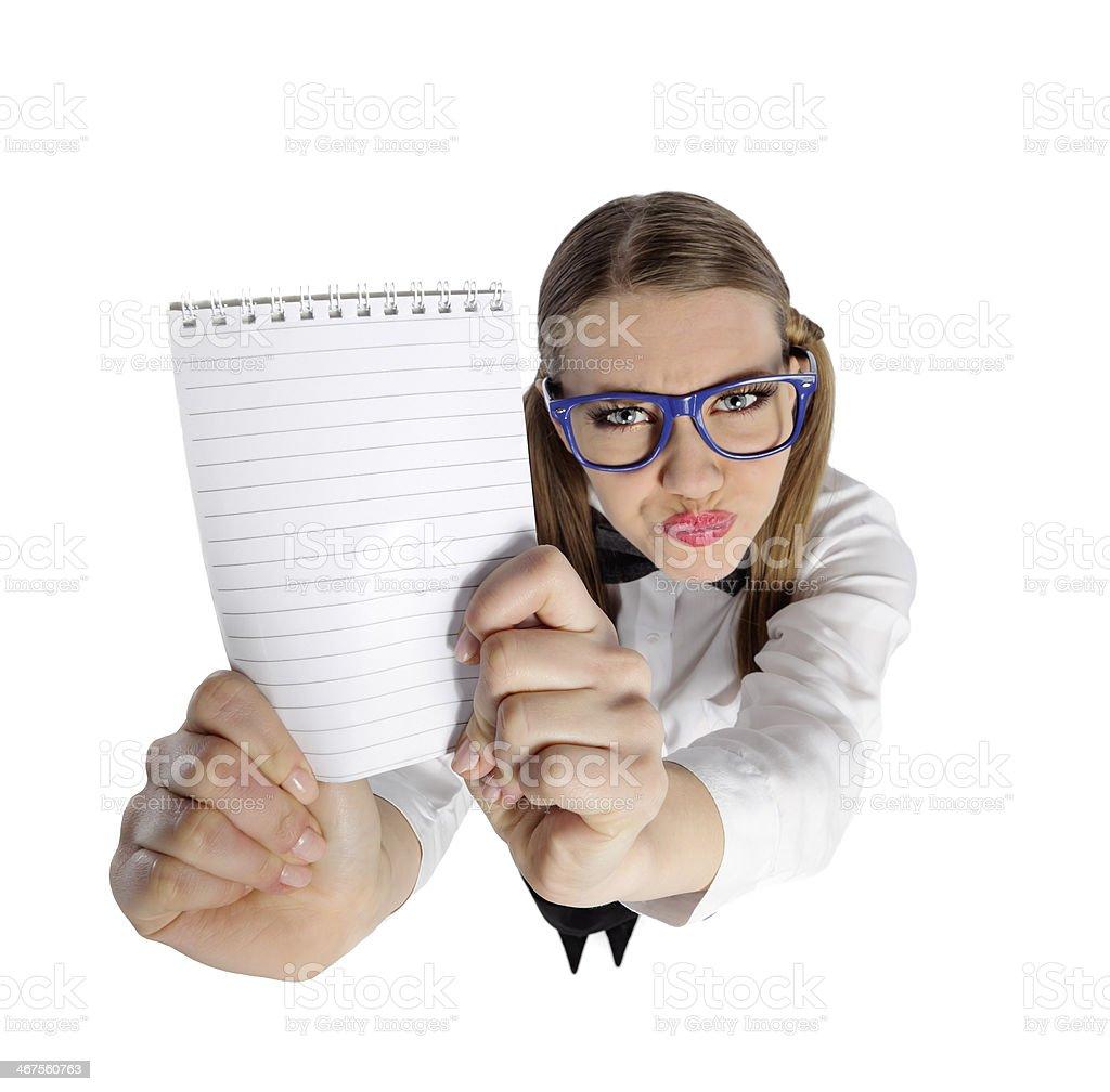 nerd secretary with empty paper royalty-free stock photo