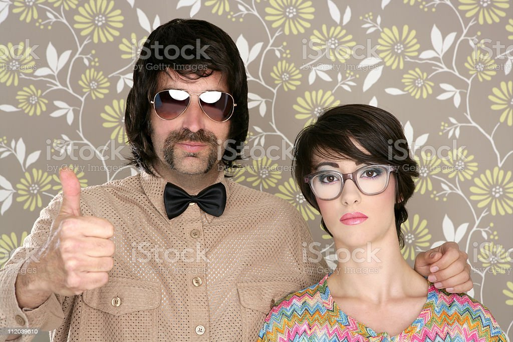 nerd silly couple retro man woman ok hand sign stock photo