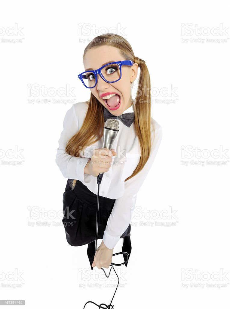 nerd singing royalty-free stock photo