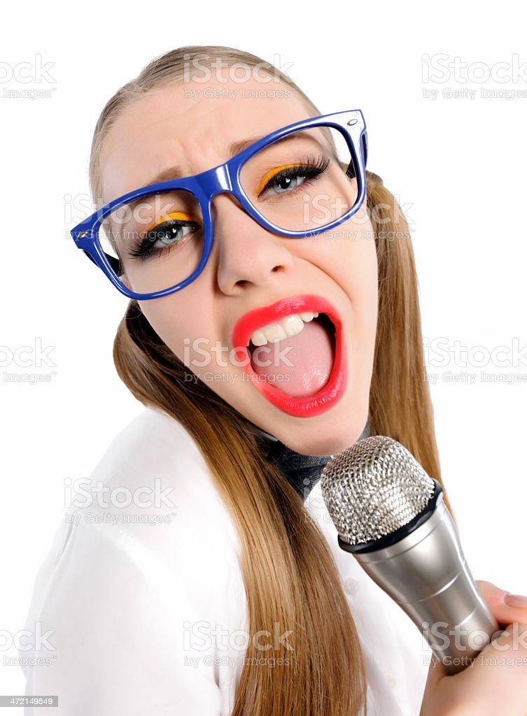 nerd singing royalty-free stock photo