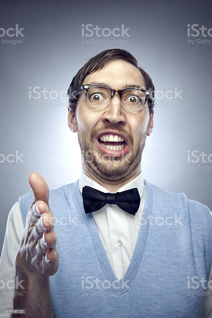 Nerd Student Greeting with a Handshake stock photo