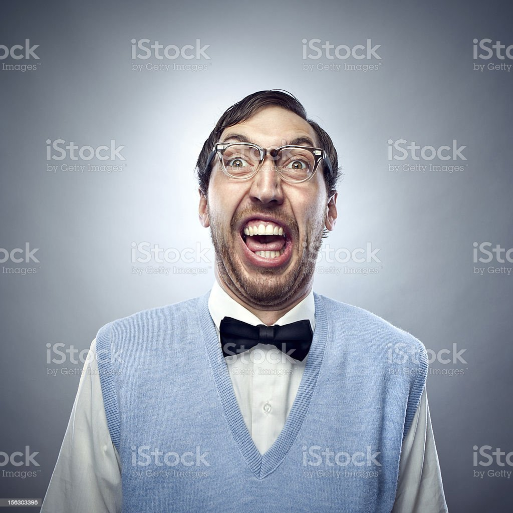 Nerd Student Making a Funny Smiling Face royalty-free stock photo