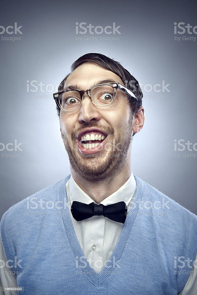Nerd Student Making a Funny Smiling Face stock photo
