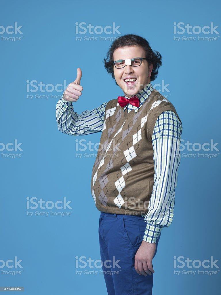 Nerd student  making Ok hand sign stock photo