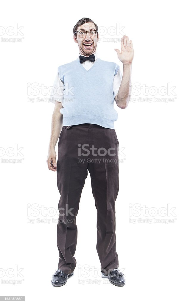 Nerd Student Saying Hi stock photo