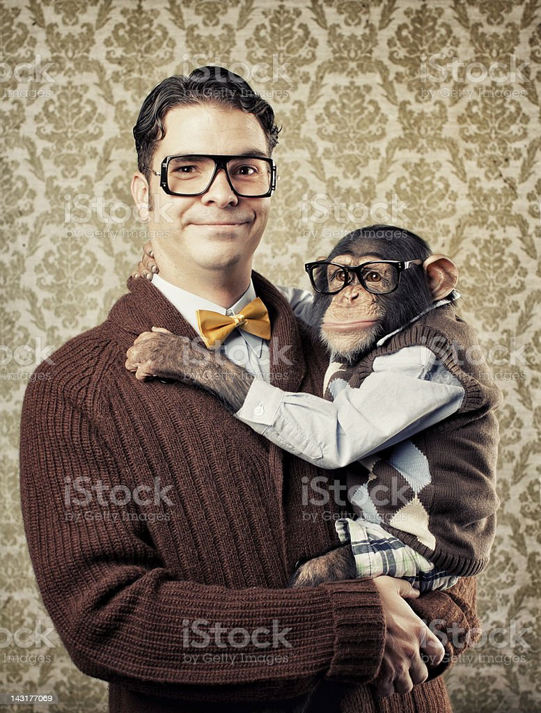 Nerd with a Chimp stock photo