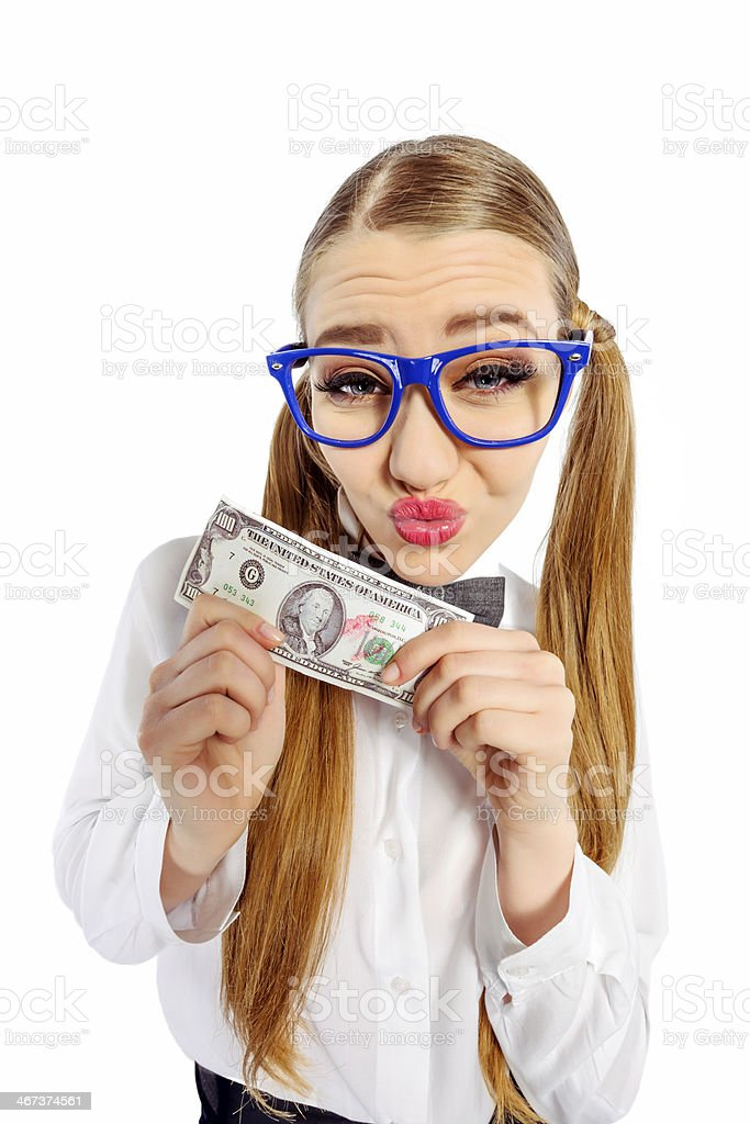 nerd with money royalty-free stock photo