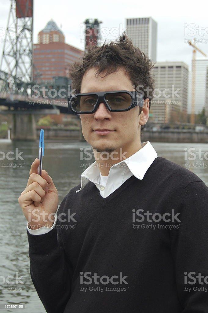 Nerd with Pen stock photo