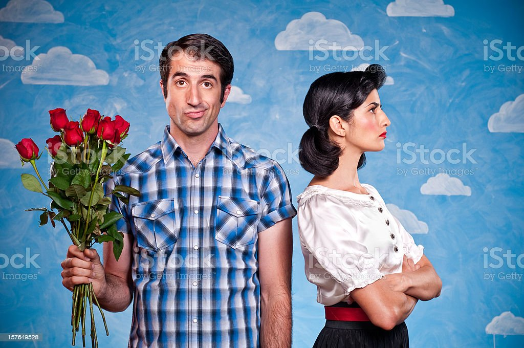 Nerd With Red Roses On A Date stock photo