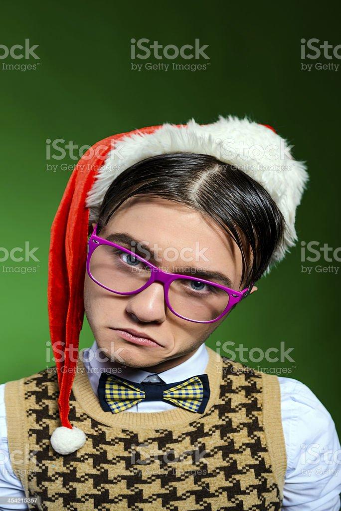 nerd with santa hat royalty-free stock photo