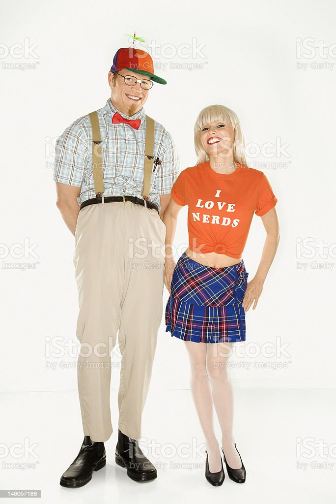 Nerd with sexy female stock photo