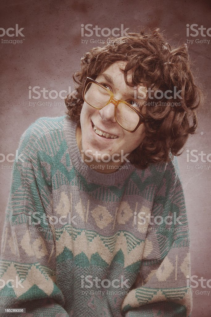 Nerd Young Man 1980s Yearbook Photo royalty-free stock photo