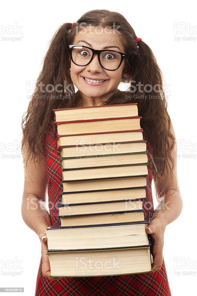 Nerdy bookworm royalty-free stock photo