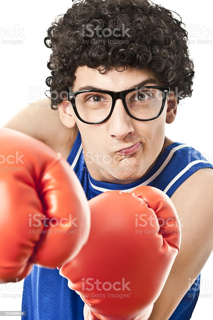 Nerdy boxer royalty-free stock photo