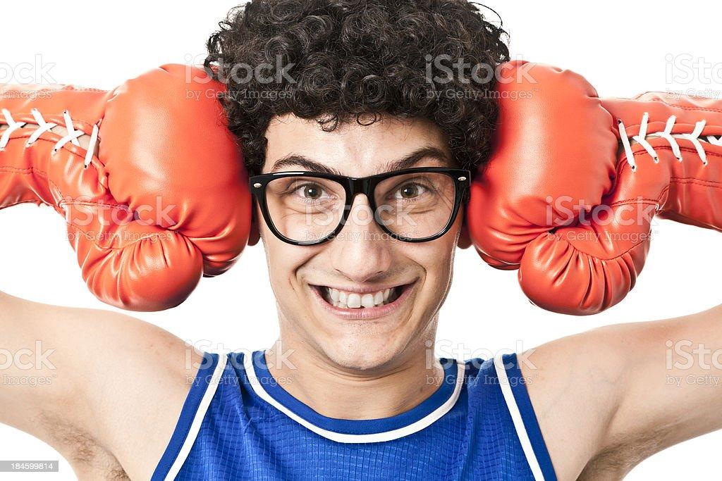 Nerdy boxer royalty-free stock photo