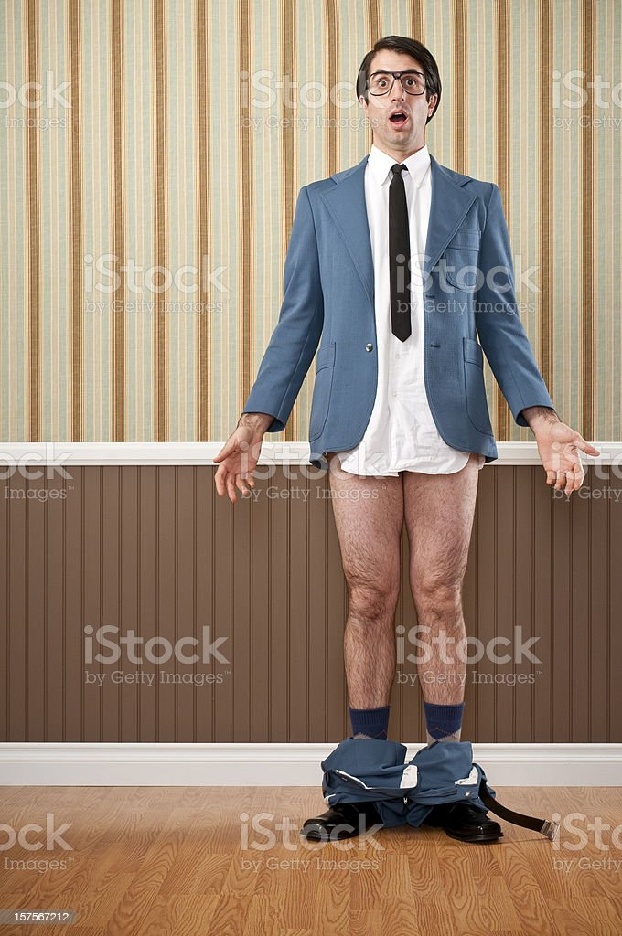 Nerdy Businessman Caught With His Pants Down stock photo