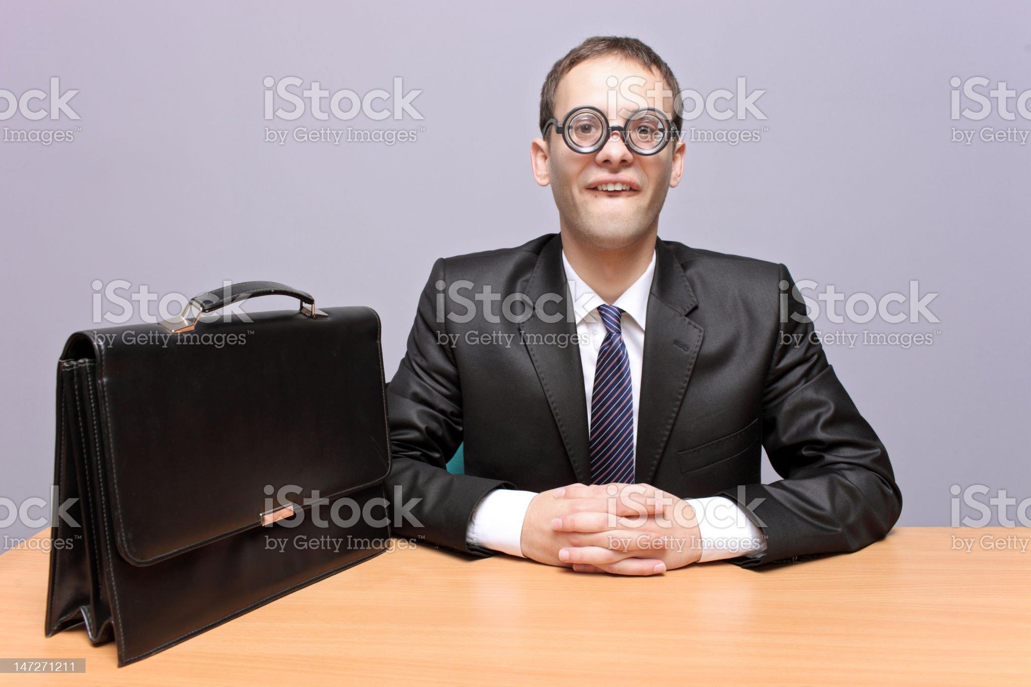 Nerdy businessman royalty-free stock photo