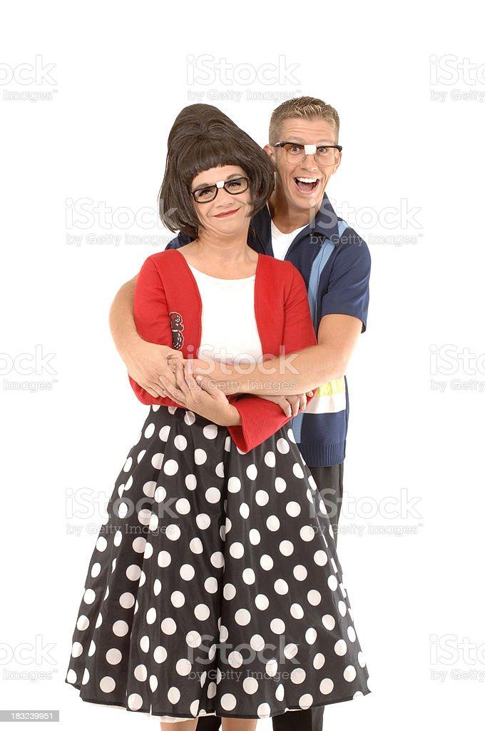 nerdy couple royalty-free stock photo