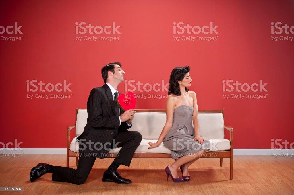 Nerdy Couple With Valentine's Chocolates stock photo