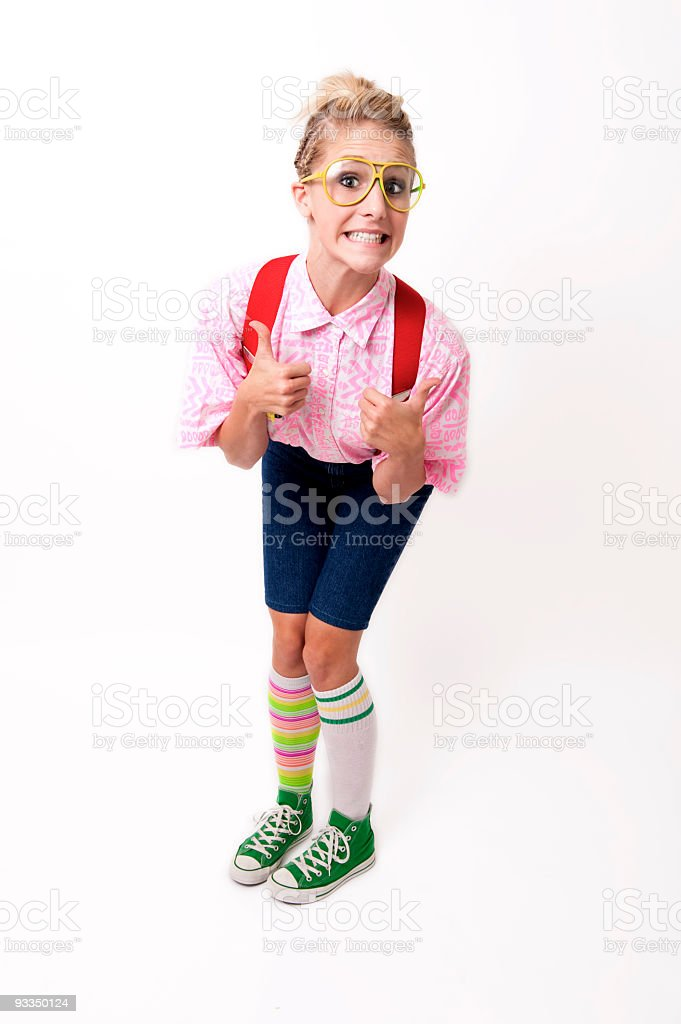 Nerdy girl with thumbs up stock photo