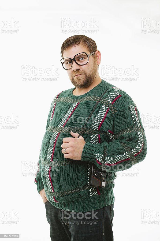 nerdy glasses man  with camera on white stock photo