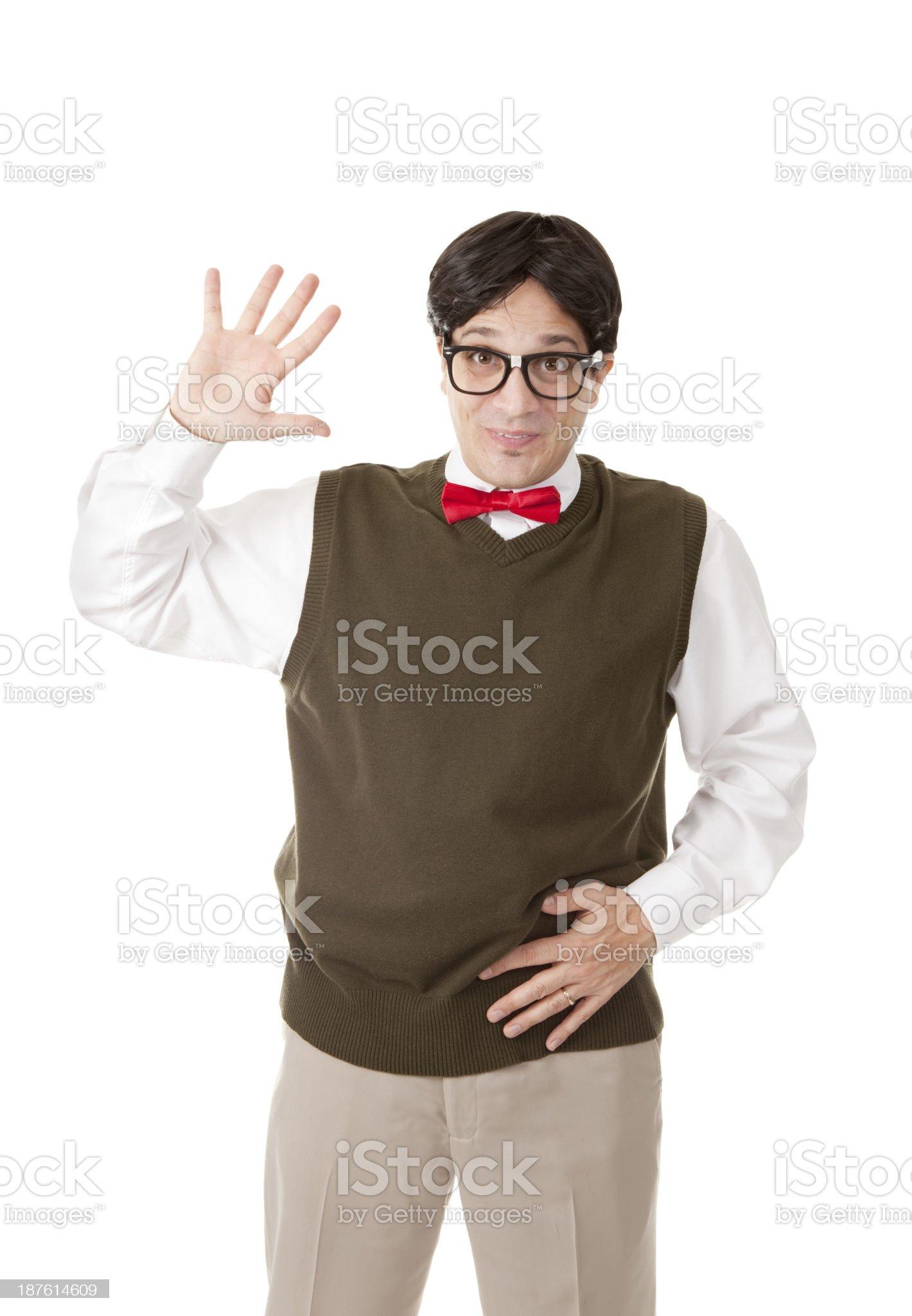 Nerdy Guy Waving Isolated On White royalty-free stock photo