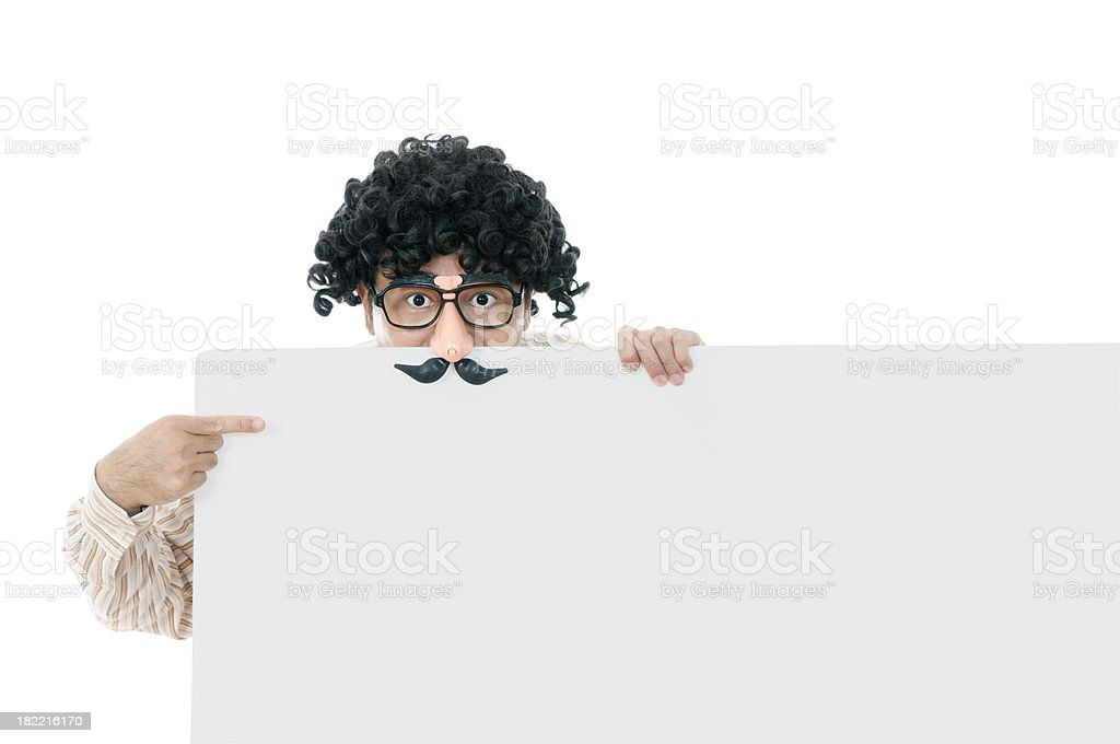 Nerdy guy with comedy eyeglasses holding a billboard stock photo