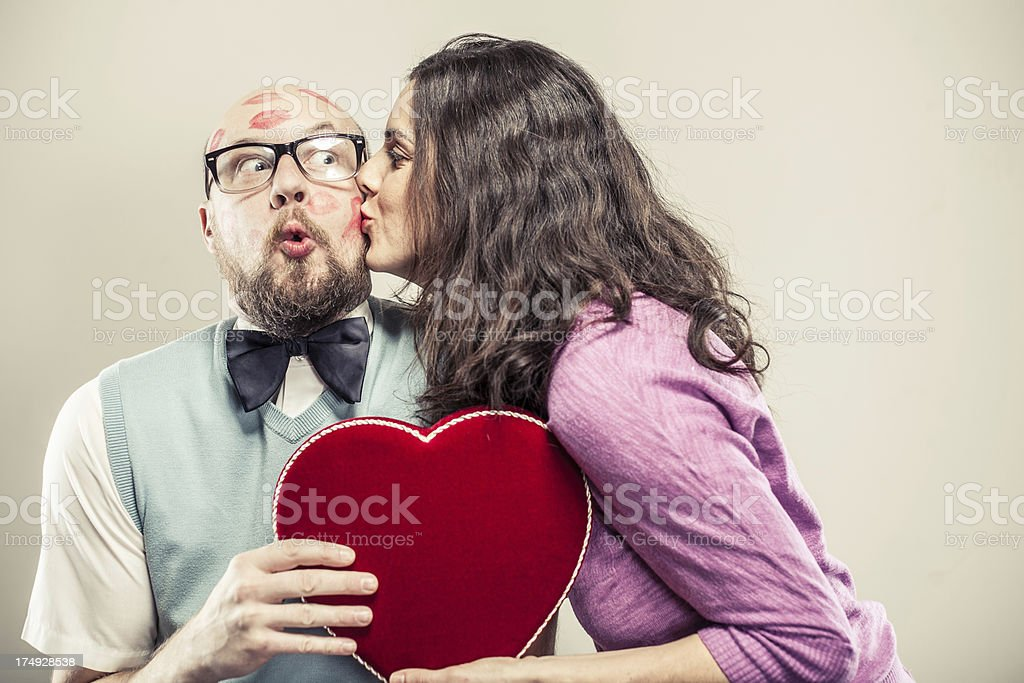 Nerdy Man being Kissed on Valentine's Day royalty-free stock photo