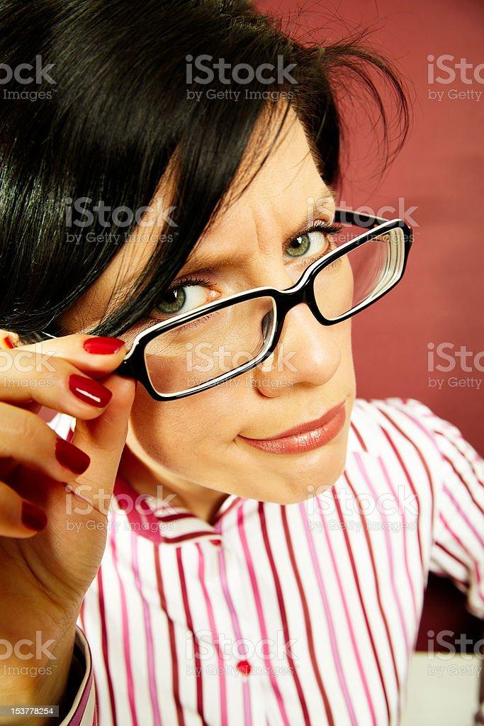 nerdy office woman royalty-free stock photo