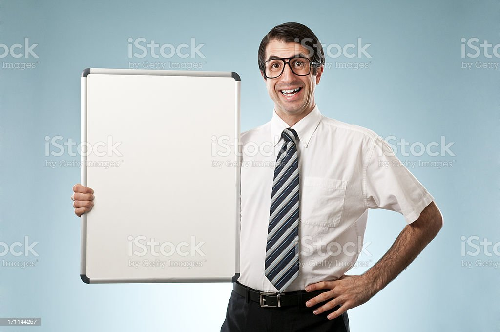 Nerdy Office Worker Holding Whiteboard royalty-free stock photo