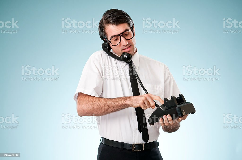 Nerdy Office Worker With Vintage Telephone royalty-free stock photo