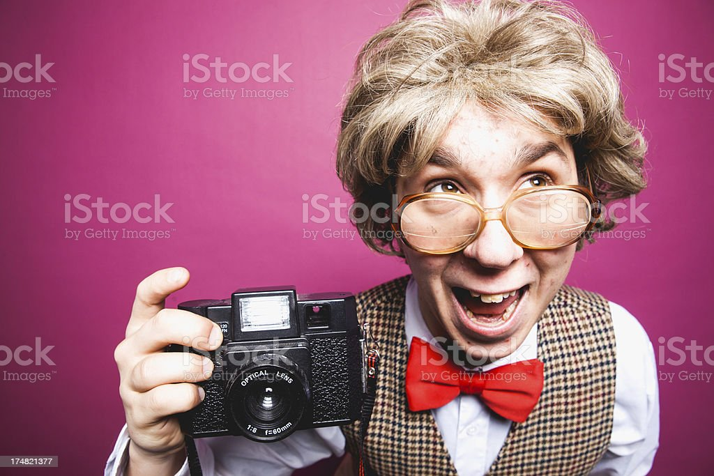 Nerdy Pink Background Photographer Student Young Man royalty-free stock photo
