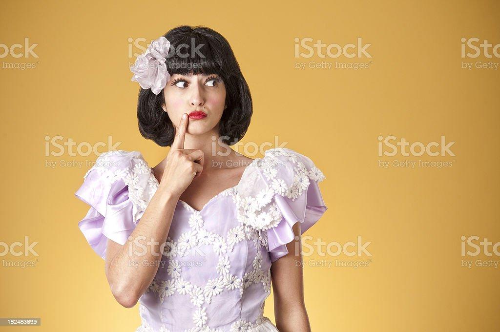 Nerdy Princess Thinking royalty-free stock photo