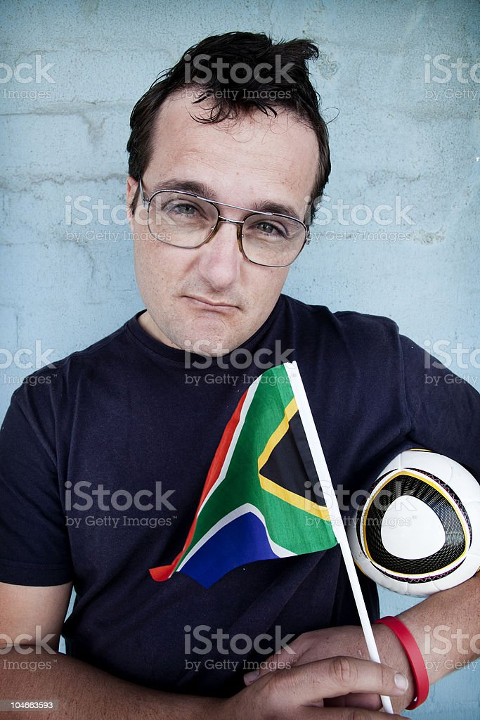 Nerdy Soccer Supporter royalty-free stock photo