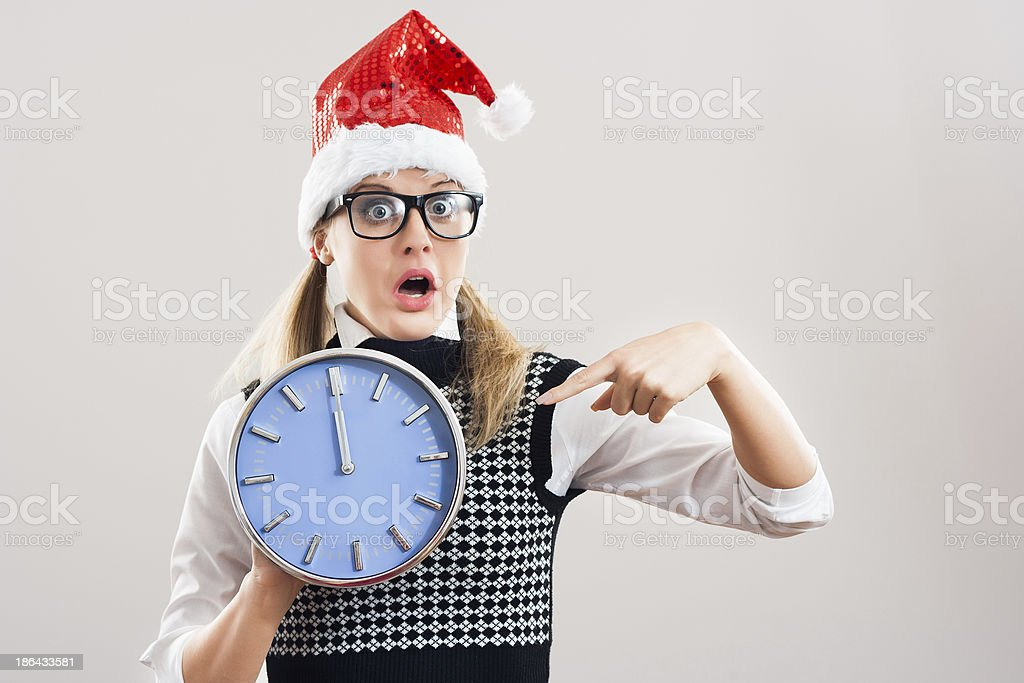 Nerdy woman in panic royalty-free stock photo