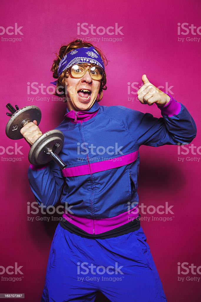 Nerdy workout dude stock photo