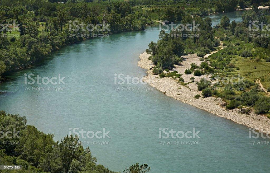 Neretva river near Pocitelj village. Bosnia and Herzegovina stock photo