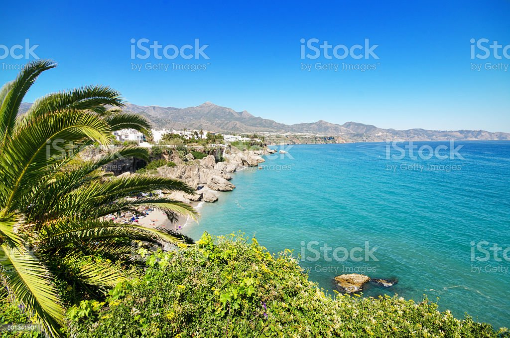 Nerja beach, famous touristic town, costa del sol, Málaga, Spain. stock photo