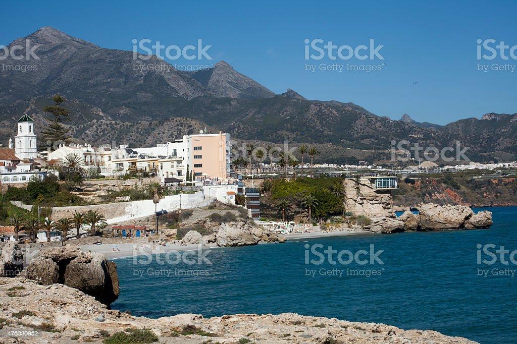 Nerja townscape, beach and lanscape, M?laga, Spain. stock photo