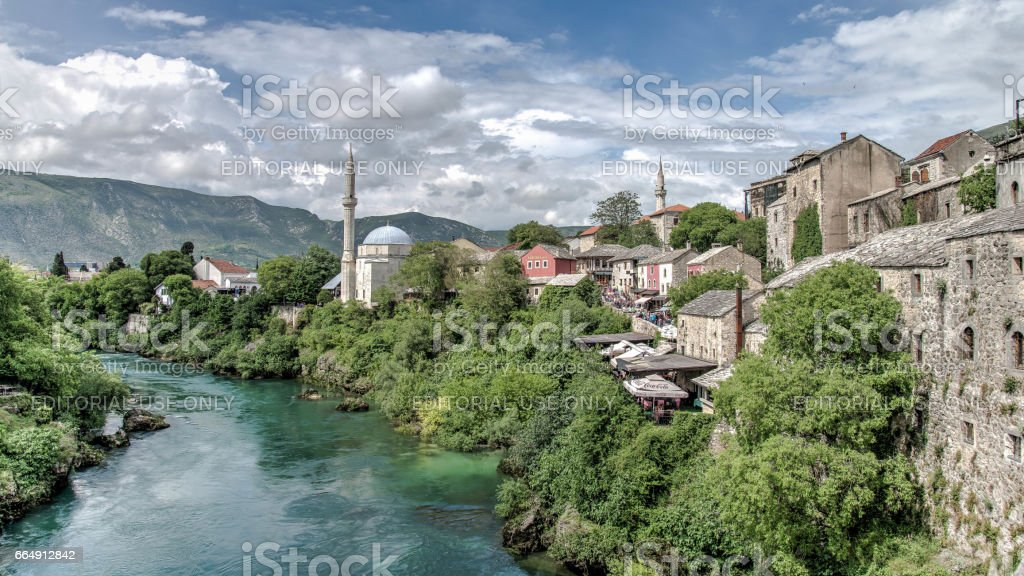 Nerteva River and Old City of Mostar, with Ottoman Mosque stock photo