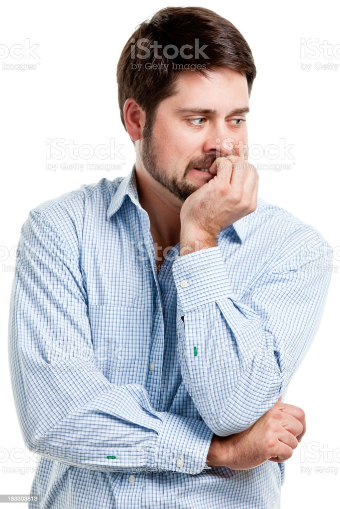 Nervous Man Biting Fingernails stock photo