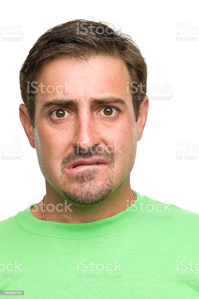 Nervous Man Biting Lip royalty-free stock photo