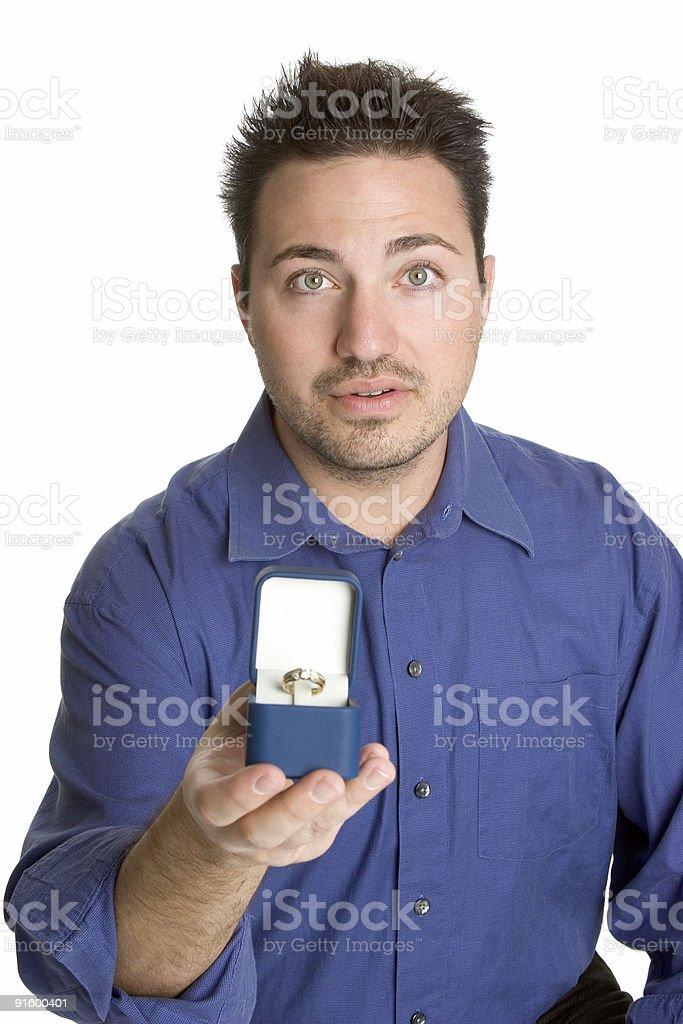 Nervous man proposing royalty-free stock photo